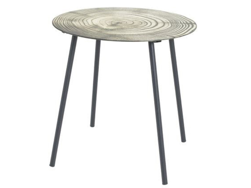 Table d'appoint en tube d'acier laqué noir - dim : diam 40 x h41 cm