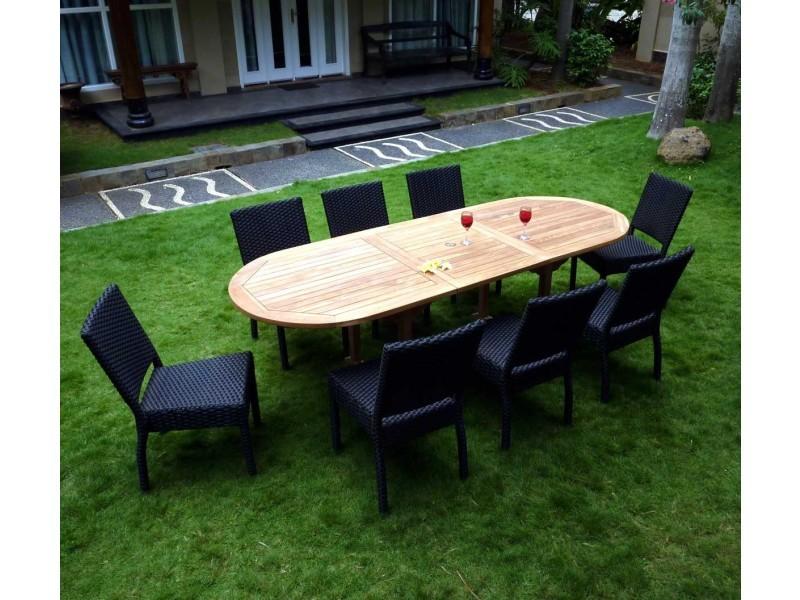 Salon de jardin en teck et résine 8 chaises avec coussins - table ovale ...