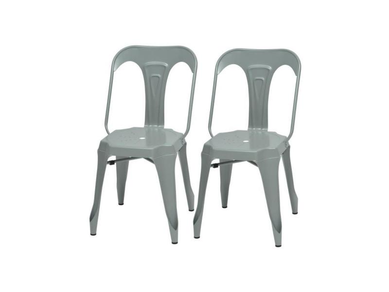 Kraft zoeli lot de 2 chaises de salle a manger - métal gris satiné - style industriel - l 44 x p 53 cm
