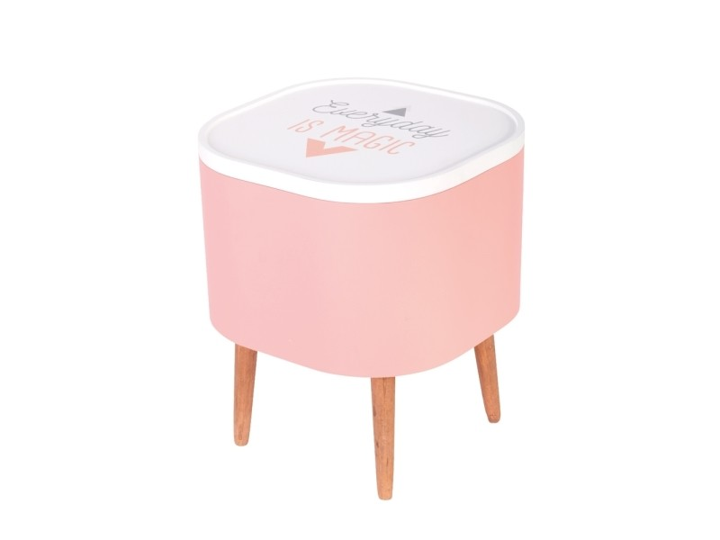 Table à café coffre carré rose
