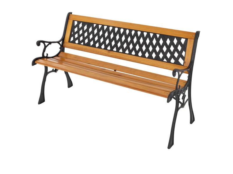 Ml-design banc de jardin 3 places en bois massif avec dossier et accoudoirs, 126x74x50 cm, banquette résistant aux intempéries, motifs croisés métal/fonte, meuble d'extérieur parc terrasse et balcon 490000332