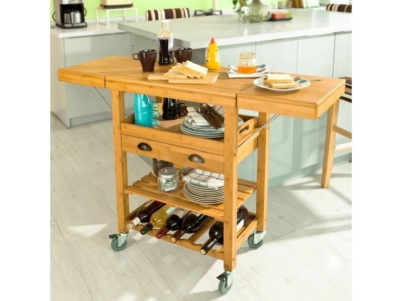 Desserte Roulante Chariot De Cuisine En Bambou Plans De