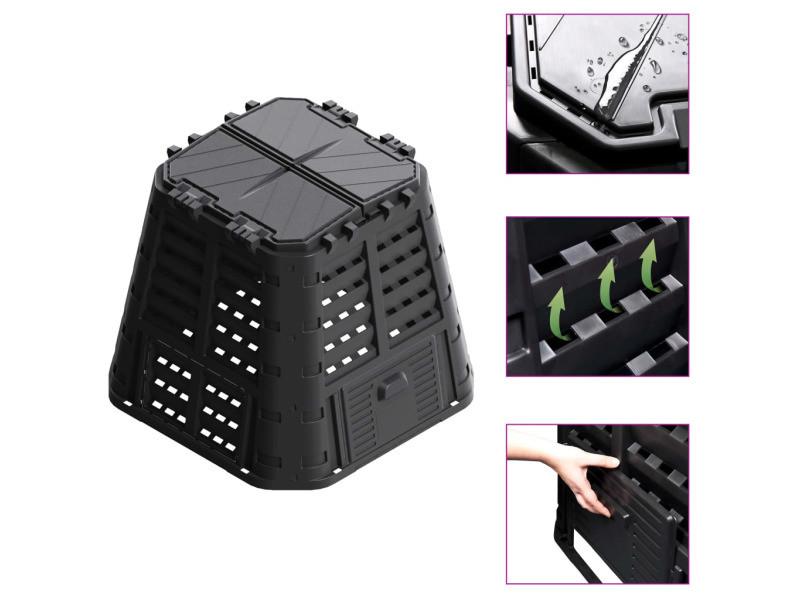 Admirable compostage reference maseru composteur de jardin noir 93,3x93,3x80 cm 420 l