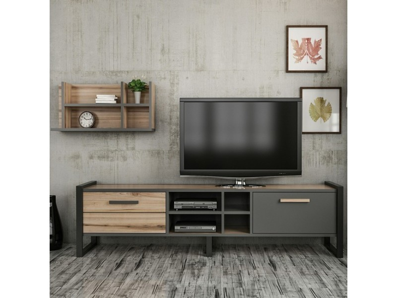 Homemania meuble tv leno moderne - avec portes, étagères ...