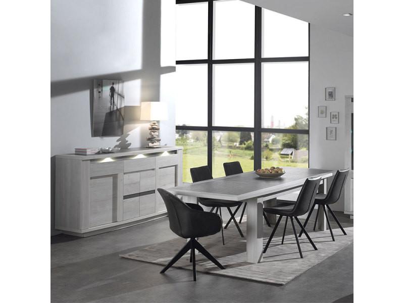 Salle à manger moderne couleur chêne blanc et gris childeric ...