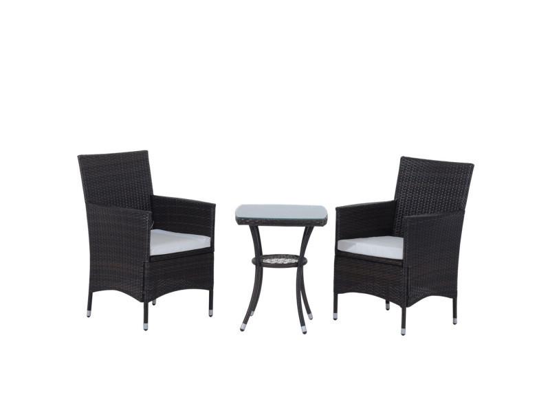Ensemble salon de jardin 2 places : 2 fauteuils et table basse ...