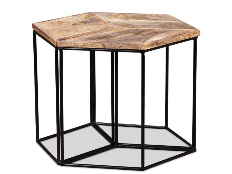 Icaverne - tables basses selection table basse bois de manguier massif 48 x 48 x 40 cm