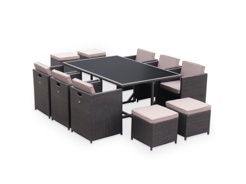 Salon de jardin vasto chocolat table en résine tressée 6 à 10 places ...