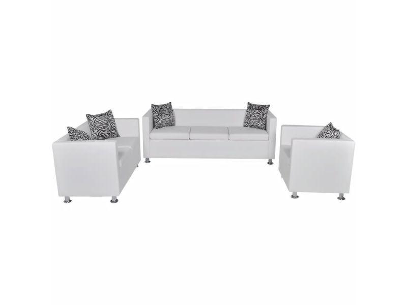 Icaverne - canapés categorie jeu de canapé à 2 places et à 3 places et fauteuil blanc