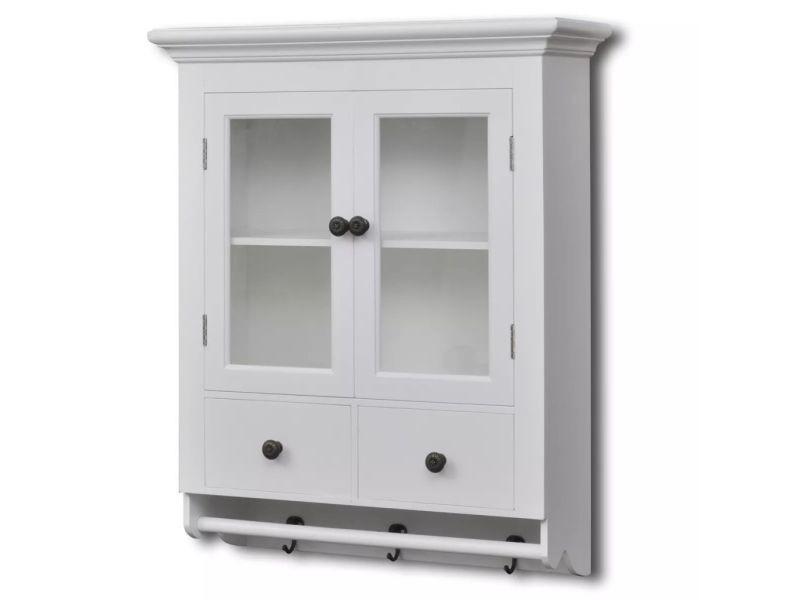 Armoires et meubles de rangement ligne paris placard mural de cuisine avec porte en verre bois - Rangement placard mural ...