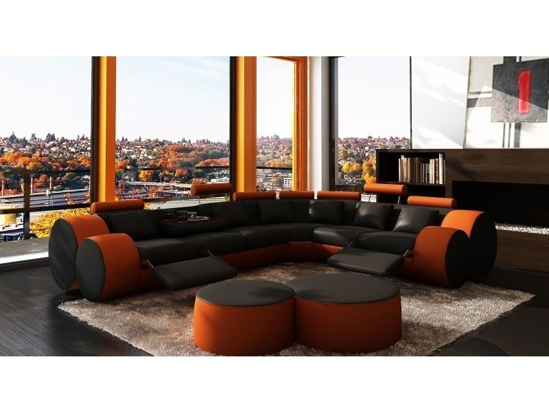 Canapé d'angle cuir noir et orange + positions relax roma-