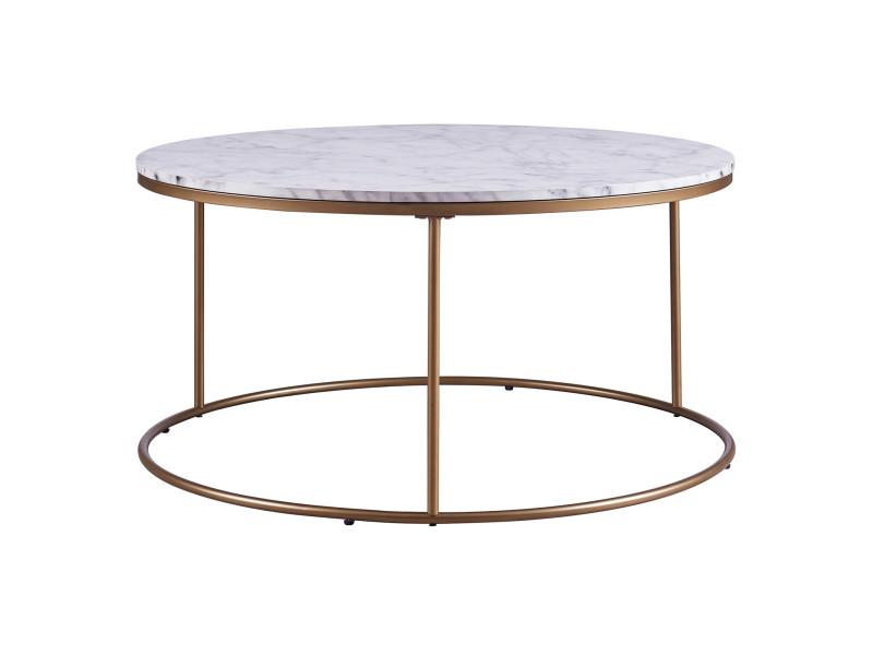 Table Basse Ronde En Bois Effet Faux Marbre Pieds Metal Dore