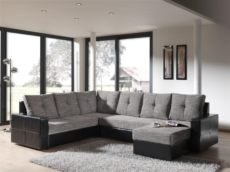 Canapé d'angle panoramique convertible noir et gris walter-
