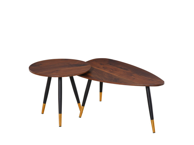 Lot de 2 tables basses gigognes style art déco pieds effilés inclinés métal noir extrémités doré plateaux mdf aspect teck foncé