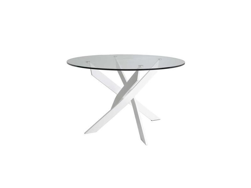 Table de repas ronde blanc 120 cm - faxou - l 120 x l 120 x h 76 - neuf