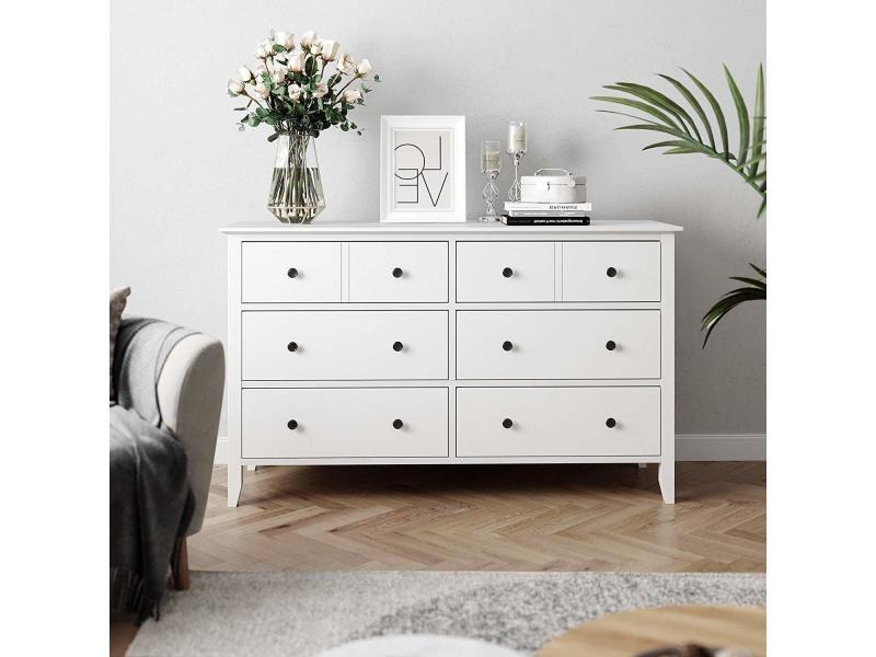 Commode à tiroirs, armoire à 5 tiroirs avec cadre en bois ...