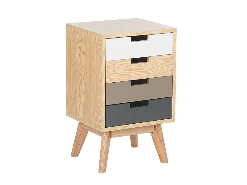 Commode multicolore et bois clair avec 4 tiroirs clark 174006