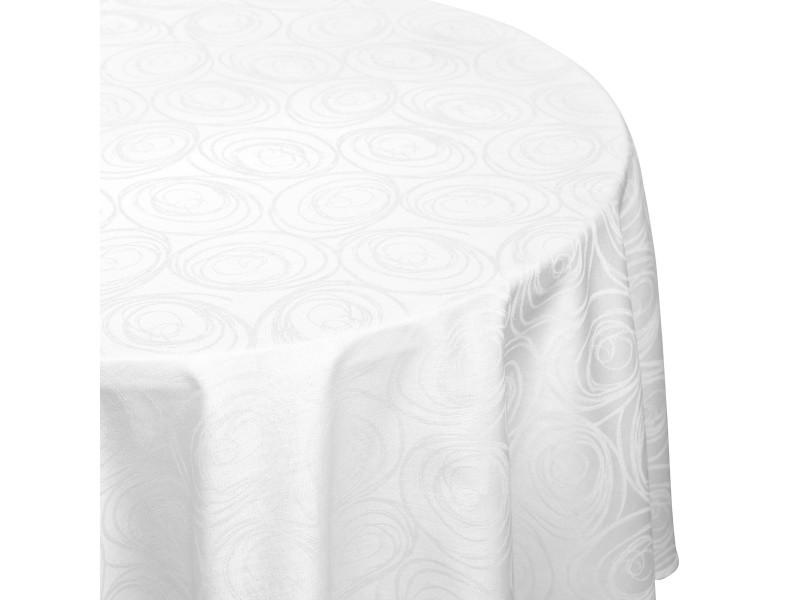 Nappe ronde 180 cm jacquard 100% coton spirale blanc