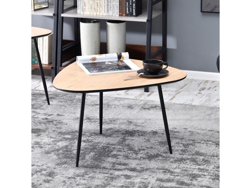 Table basse - rosin - 68x65 cm - chêne / noir - style industriel