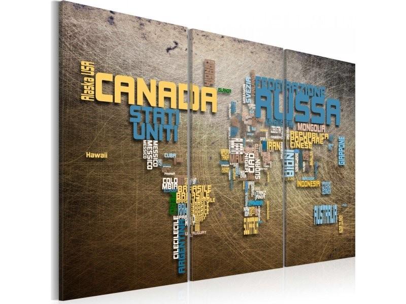 Conforama Carte Monde.Tableau Carte Du Monde En Italien Triptyque A1 N2144 Dkxpwd