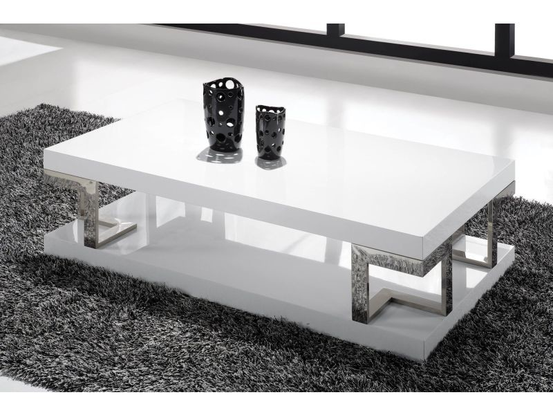 Table Basse Blanc Laque Rectangulaire.Table Basse Rectangulaire En Mdf Coloris Blanc Laque P 130