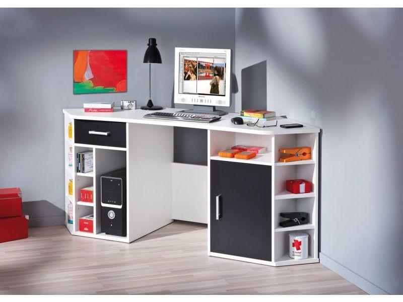 Bureau D Angle Avec Rangement Coloris Noir Et Blanc P 808 Co