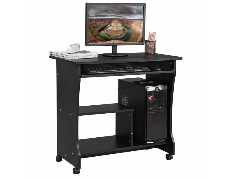 Bureau mobile table informatique table dordinateur noir lcd858b