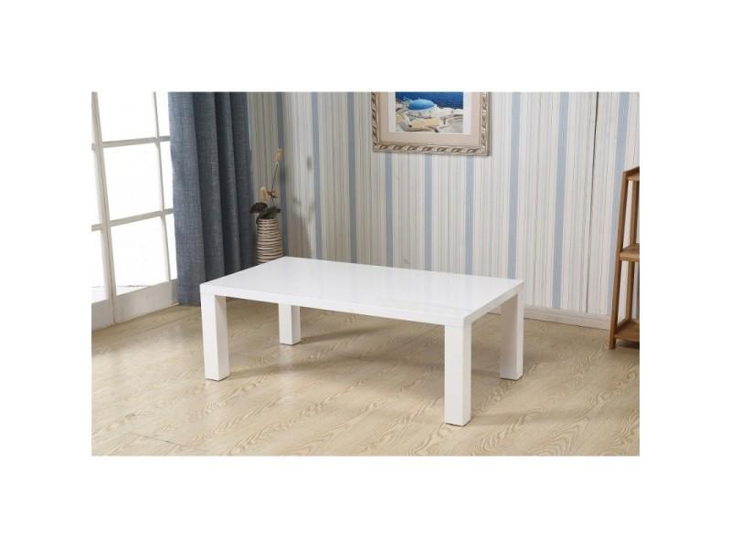 Table basse amida rectangulaire 130 cm en mdf coloris blanc
