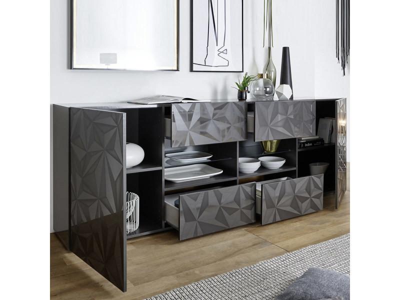 Salle à manger gris laqué enfilade + table design paolo 3 ...