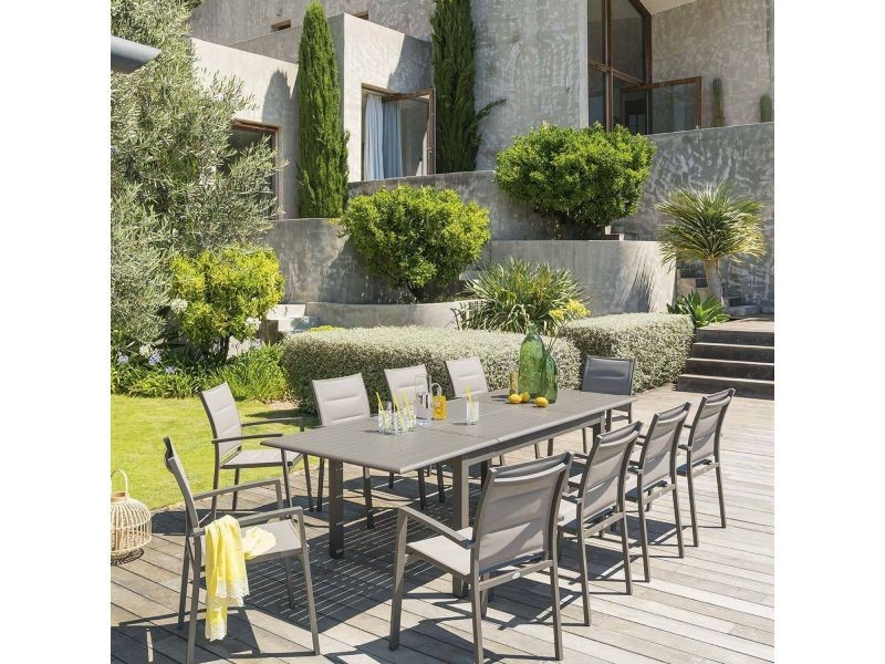 Table de jardin extensible azua - aluminium - 10 personnes - marron ...