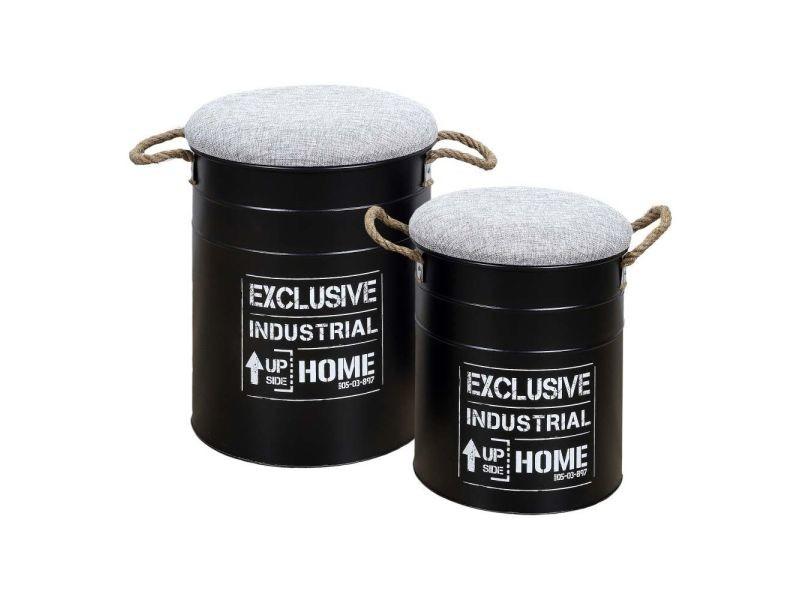 Lot de 2 poufs gigognes - baril dock - noir