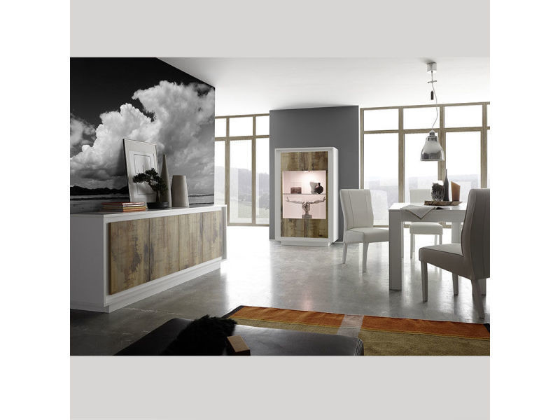 Salle à manger moderne blanc et couleur bois erine 2 - Vente de ...