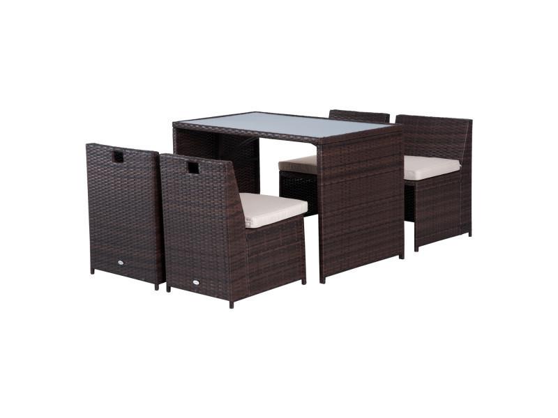 Ensemble salon de jardin encastrable 4 chaises monoblocs avec ...