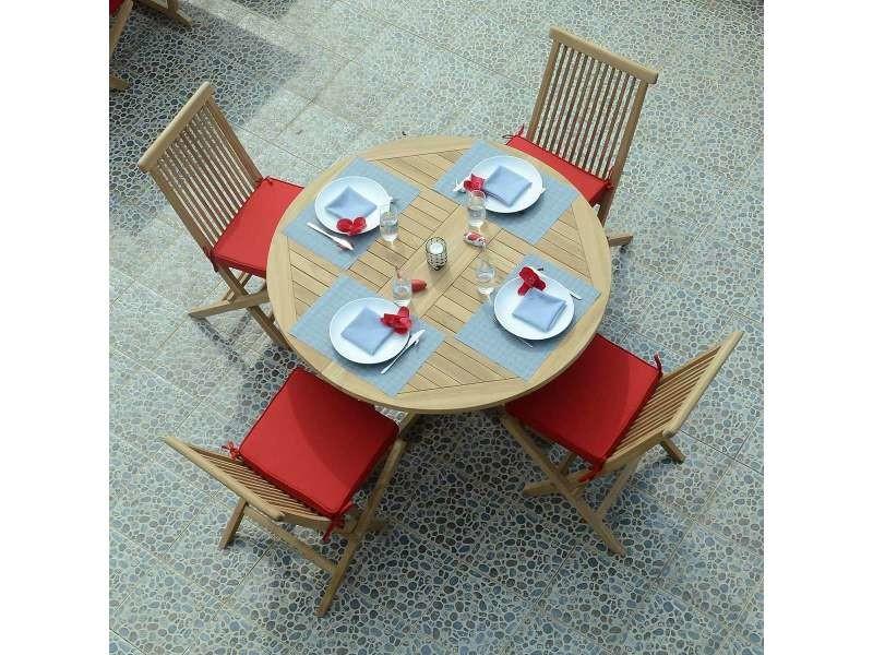 Table de jardin en teck pliable ø 120 cm - domingue Teck massif de ...