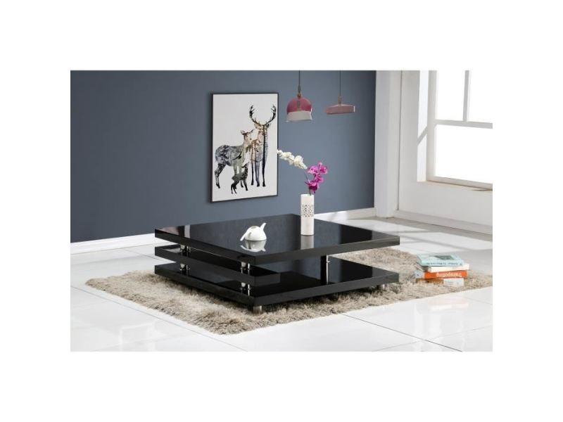 Table basse renato table basse style contemporain noir laqué - l 100 x l 100 cm