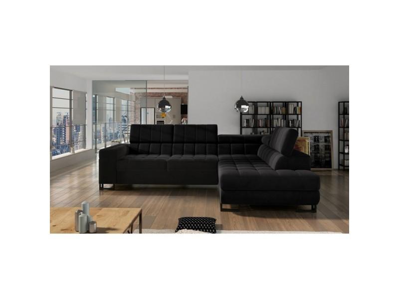 Canapé d'angle convertible liris noir - angle droit