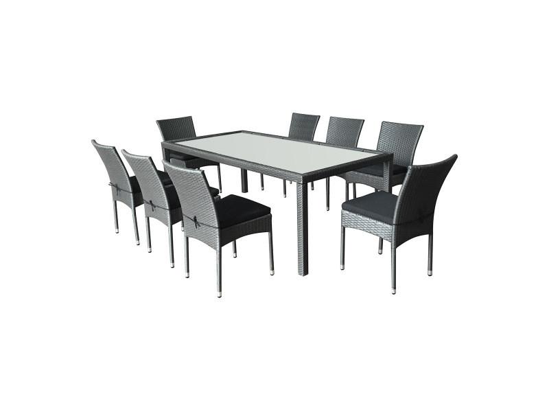 Salon de jardin doha en résine tressée 8 chaises + coussins noir ...