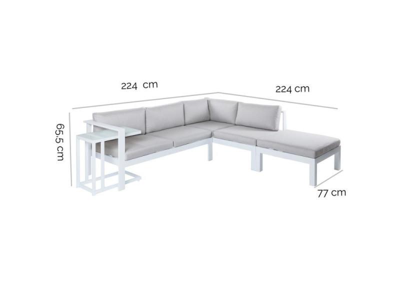 Canapé d\'angle d\'extérieur aluminium blanc/gris - atiheu - l ...