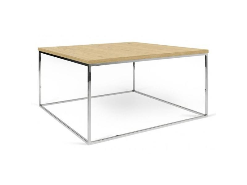Table basse carrée gleam 50 plateau chêne clair structure chromée 20100865043