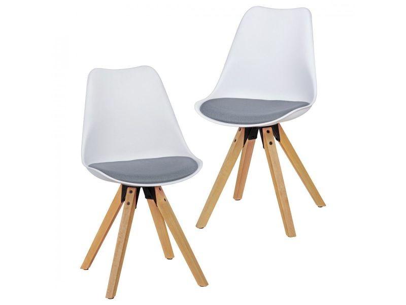 8067225e7bfe9 Lot de 2 chaises scandinaves en plastique et tissu coloris blanc et gris  collection c-anja p-26654-co