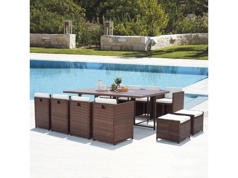Sunset 12 : salon de jardin encastrable 12 places en résine tressée et aluminium marron/blanc