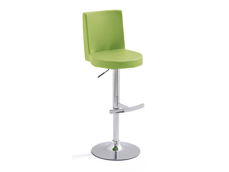 Tabouret de bar socle rond en métal chromé et pu coloris vert pomme - dim : h 93-115 x 44 x 53 cm -pegane-