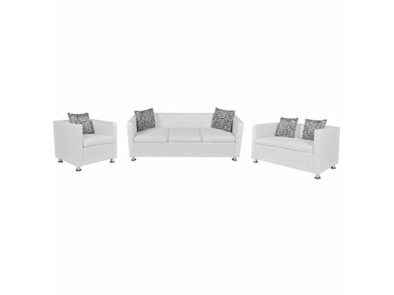 Splendide meubles categorie nicosie jeu de canapé à 2 places et à 3 places et fauteuil blanc