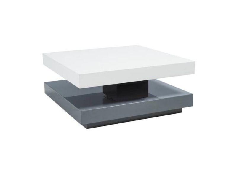 Fanol - table basse laquée style moderne - 35x75x75 cm - faite en mdf laqué - forme carrée - table à café - blanc