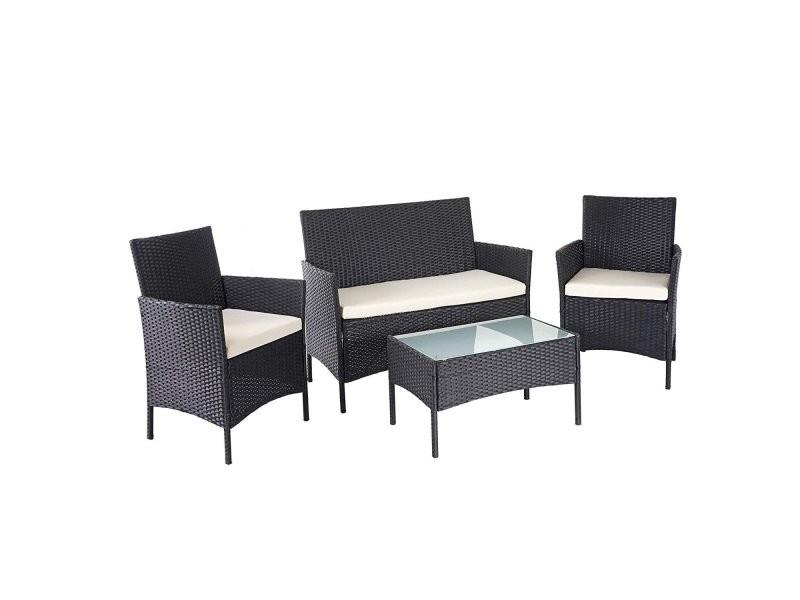 Salon de jardin avec fauteuils banc et table en poly-rotin noir ...