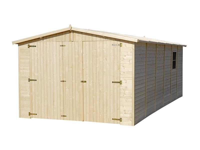 Garage en bois naturel - chalet en pin / épicéa- h222x616x324 cm/18 m² - construction de panneaux- rangement pour vélos, remise à outils-timbela m102 M102