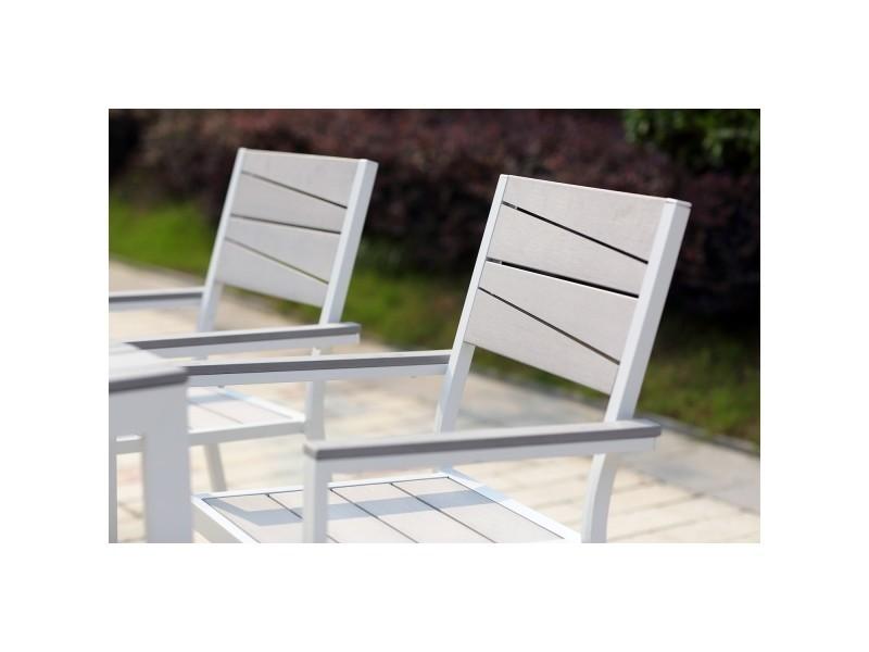Siderno 6 Salon De Jardin En Aluminium Et Polywood Gris Blanc