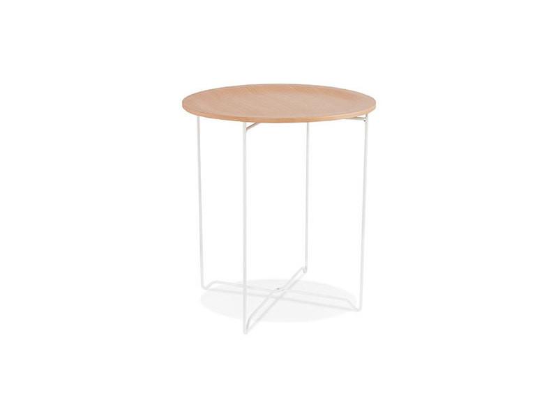 Table Basse Ronde 45x45x52 Cm En Bois Naturel Et Métal Blanc