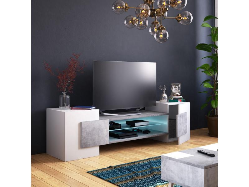 Meuble Tv Meuble De Salon Charles 160 Cm Blanc Mat