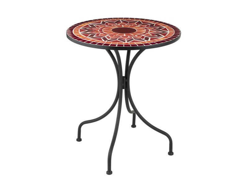 Table ronde métal/mosaïque rouge - newia - l 61 x l 61 x h 71 - neuf ...